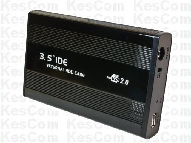 """3,5"""" 8,9cm  USB 2.0 auf IDE Metallgehäuse mit Netzteil in schwarz"""