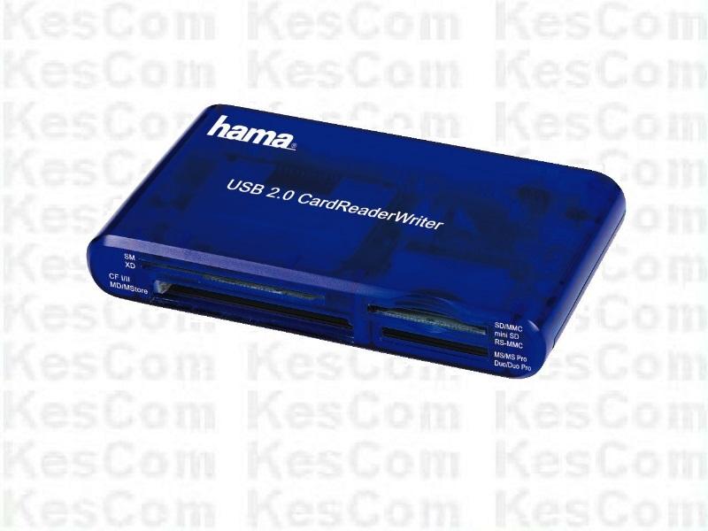 Hama 55348  USB 2.0 Card Reader Kartenleser 35 Karten lesen schreiben in blau